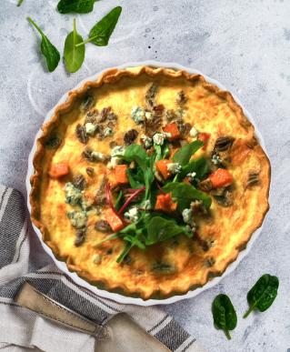 Roast Pumpkin, Blue Cheese & Pecan Quiche